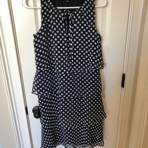 Navy and white polka dot dress with ruffles